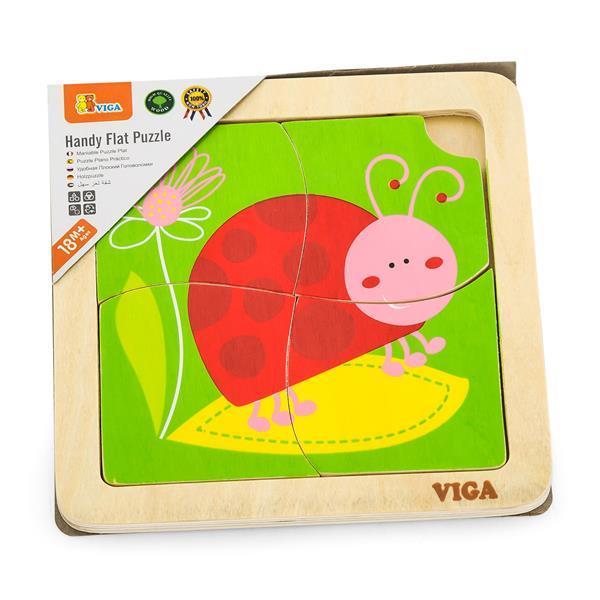 Деревянный мини-пазл Viga Toys Божья коровка, 4 эл. (50140)
