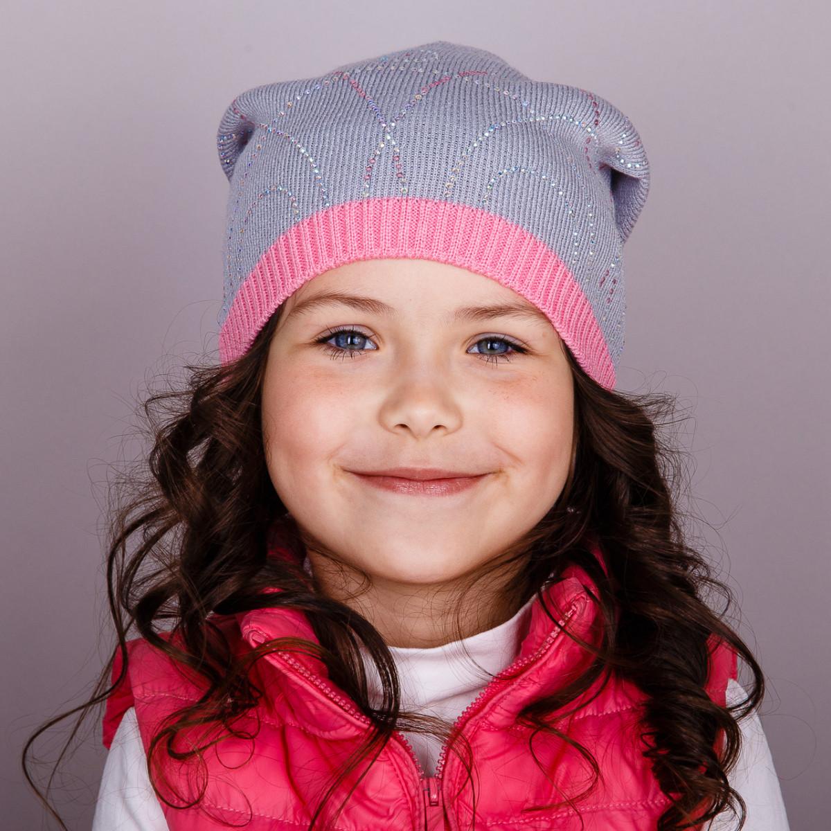 Модная шапка для девочек оптом, весна-осень - Артикул 1712