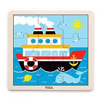 Деревянный пазл Viga Toys Кораблик, 9 эл. (51445), фото 1