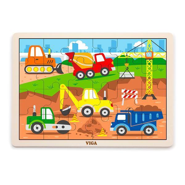 Деревянный пазл Viga Toys Строительная техника, 24 эл. (51463)