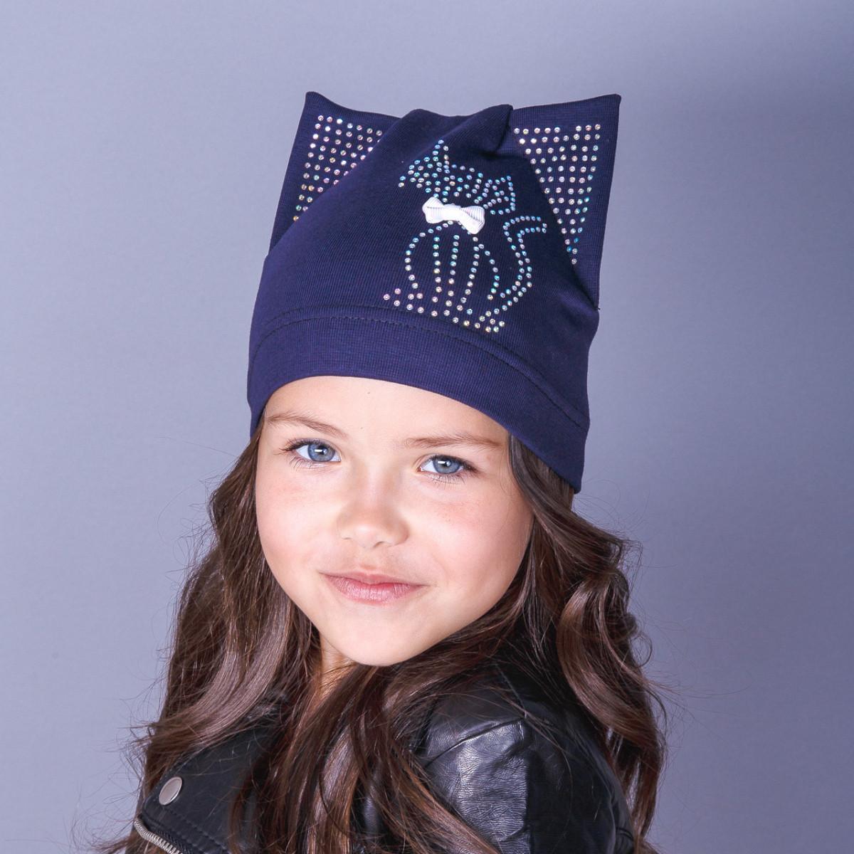 Модная шапка-кошка для девочек оптом - весна-осень - Артикул 1754