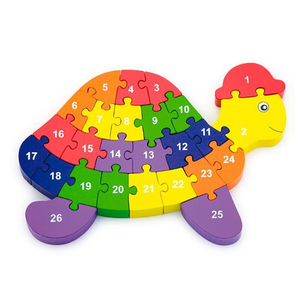 Деревянный пазл Viga Toys Черепаха по буквам и числам (55250)