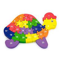 Деревянный пазл Viga Toys Черепаха по буквам и числам (55250), фото 1