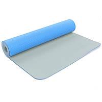 Коврик для фитнеса и йоги двухслойный Zelart Sport 5172 6мм голубой-серый