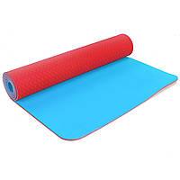Коврик для фитнеса и йоги двухслойный Zelart Sport 5172 6мм красный-голубой