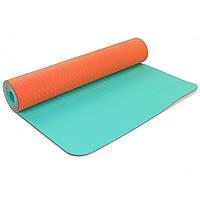 Коврик для фитнеса и йоги двухслойный Zelart Sport 5172 6мм оранжевый-голубой