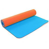 Коврик для фитнеса и йоги двухслойный Zelart Sport 5172 6мм оранжевый-синий