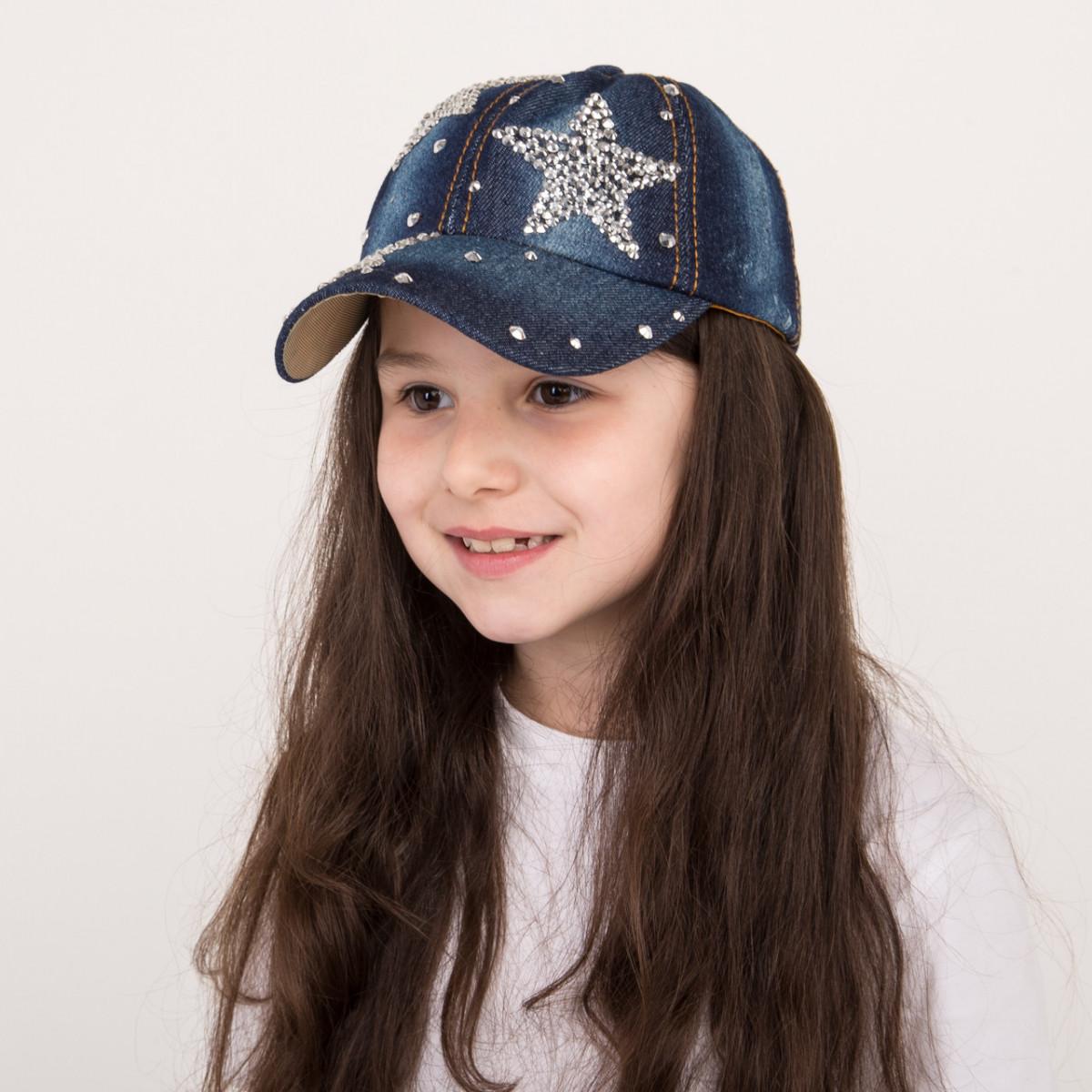 Стильная джинсовая кепка для девочек - STAR - 32018-14