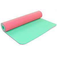 Коврик для фитнеса и йоги двухслойный Zelart Sport 5172 6мм розовый-мятный