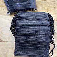 Маска медицинская (50 шт упаковка) одноразовая черная с фиксатором