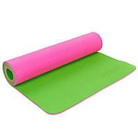 Коврик для фитнеса и йоги двухслойный Zelart Sport 5172 6мм розовый-зеленый