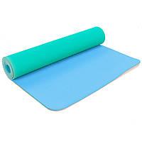 Коврик для фитнеса и йоги двухслойный Zelart Sport 5172 6мм мятный-голубой