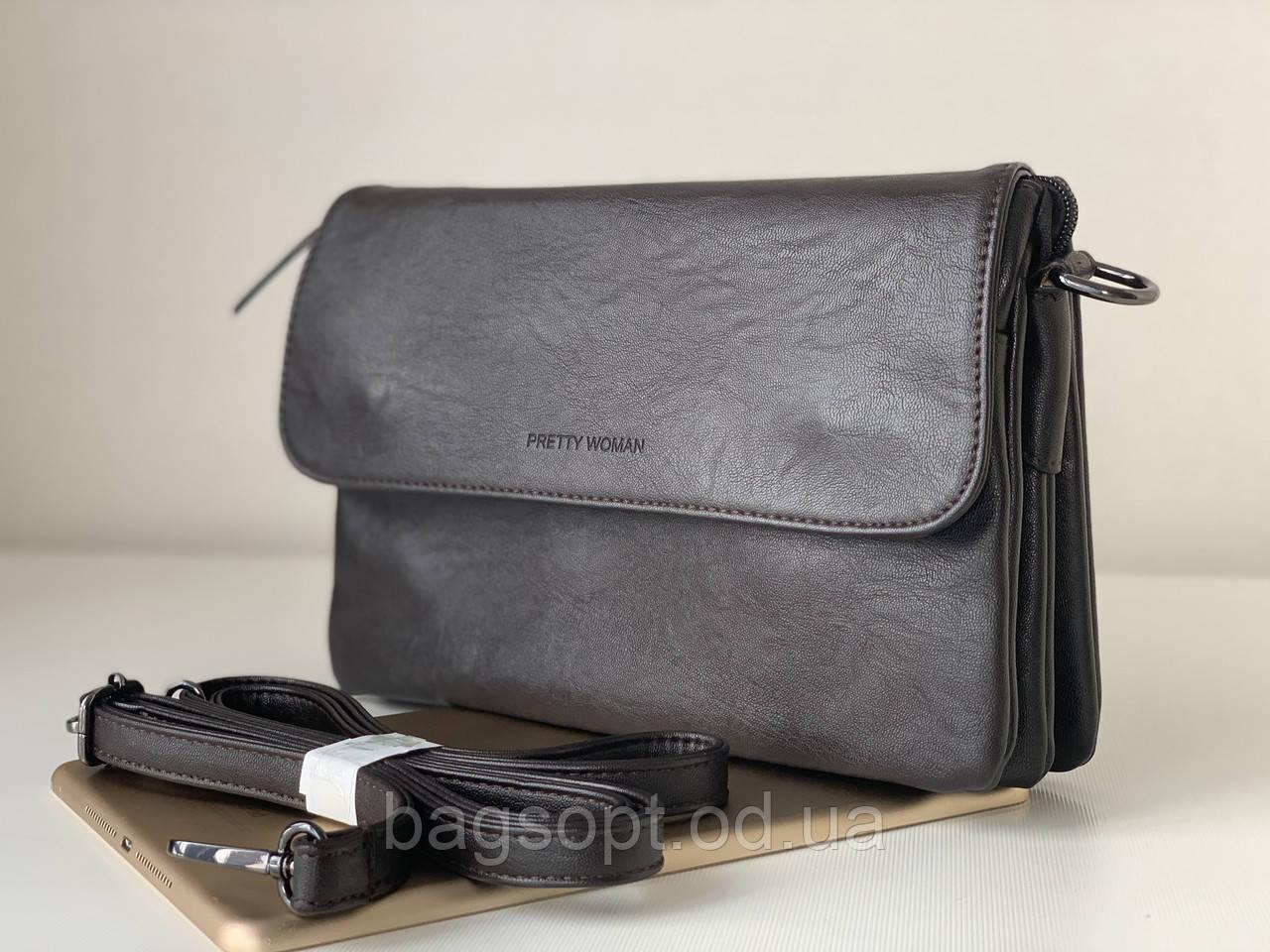 Жіночий повсякденний сумка клатч темно-коричневий шоколадного кольору через плече Pretty Woman