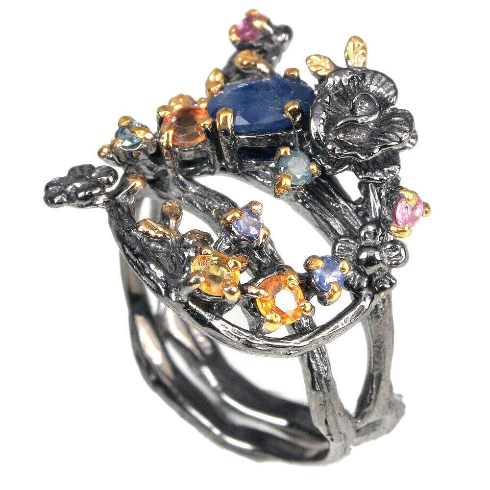 Серебряное кольцо с сапфирами разноцветными, 1535КС