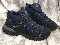Кожаные мужские кроссовки зима М - 8 син размеры 41,43, фото 1