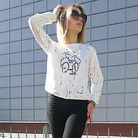 Кофта женская стильная белая, модный свитшот Lianara