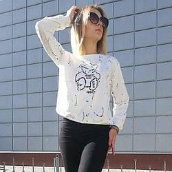 Кофта жіноча стильна біла, модний світшот Lianara