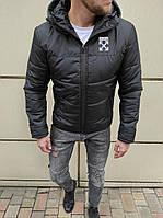 Мужская утепленная куртка Off White чёрная с капюшоном