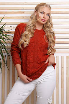 Эксклюзивный свитер в большом размере терракот 48-54