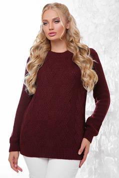 Эксклюзивный свитер в большом размере марсала 48-54