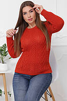 Вязаный женский свитер в большом размере терракотовый 48-54