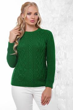 Вязаный женский свитер в большом размере трава 48-54