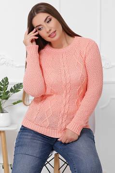 Вязаный женский свитер в большом размере персиковый 48-54