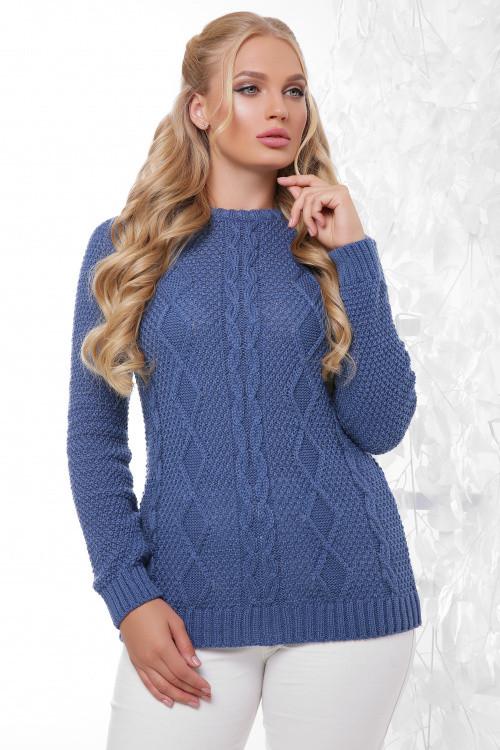 Вязаный женский свитер в большом размере джинс 48-54