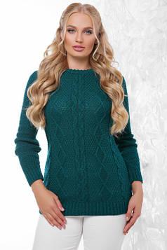 Вязаный женский свитер в большом размере изумрудный 48-54
