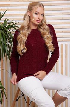 Вязаный женский свитер в большом размере бордовый 48-54