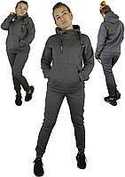 Трикотажный женский спортивный костюм на зиму с капюшоном в сером цвете XL, XXL, 3XL