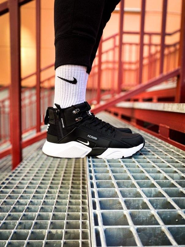 Кроссовки мужские зимние Nike Air Huarache Acronym black/white (Реплика ААА)