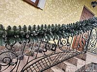 Гирлянда хвойная Кармен с серебряными шишками и жемчугом 2.70м / Елочная ветка / Гірлянда / Елка искусственная