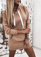Платье туника женское Трикотажное платье худи женское Спортивное платье осеннее