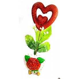 Ваза троянда керамічна з сердечком (22х9х5,5 см)A