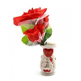 Ваза з букетом квітів (21х9х6 см)