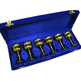 Чарки бронзові позолочені(н-р 6 шт)(h-9 см)(37х12,5х5 см)