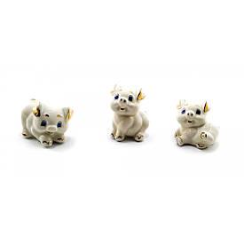 Порцелянові Свинки позолочені (набір 3 шт)(5х4х4 см)