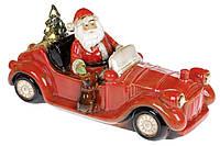 Декоративная керамическая фигура Санта на машине, с LED подсветкой, 36см