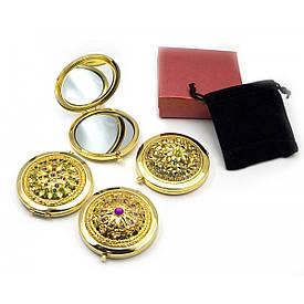 """Дзеркальце косметичне """"Візерунок з камінням"""" золото (d-7 см) (в коробці + чохол)"""