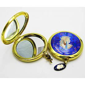 """Дзеркальце косметичне в золотому корпусі """"Єгипетська тематика"""" (19279 А)(в коробці + чохол)"""