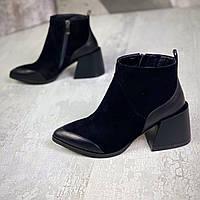 Женские замшевые ботинки на каблуке 36-40 р чёрный, фото 1