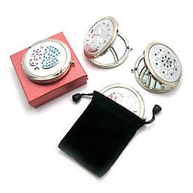 Дзеркальце косметичне з камінням срібло (в коробці + чохол)