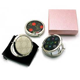 Дзеркальце косметичне з малюнком хром (d-7 см)(в коробці + чохол)
