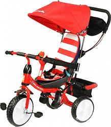 Велосипед детский 3х колесный от 1-5 лет (до 40 кг) Kidzmotion Tobi Junior RED для девочки с козырьком