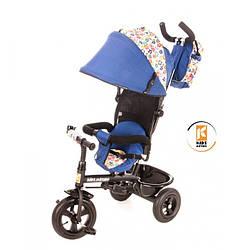 Велосипед детский 3х колесный от 1-5 лет (до 40 кг) Kidzmotion Tobi Venture BLUE с козырьком