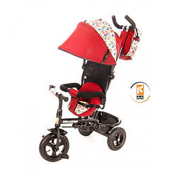 Велосипед детский 3х колесный от 1-5 лет (до 40 кг) Kidzmotion Tobi Venture RED для девочки с козырьком