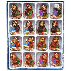 """Магніт на холодильник """"Мавпочка дід мороз"""" (16 шт/уп)(7х5х2 см)"""