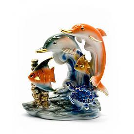 Дельфіни з рибами фарфор (13х12,5х7 см)(YSAA-1556)