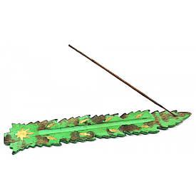 """Підставка під пахощі """"Лист"""" зелена (26х4х0,5 см)"""